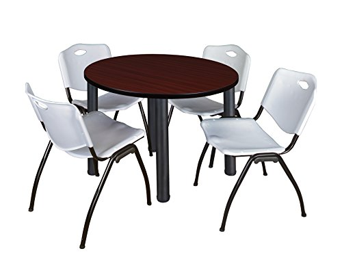 "Kee 36"" Round Breakroom Table- Mahogany/ Black & 4 'M' Stack Chairs- Grey"