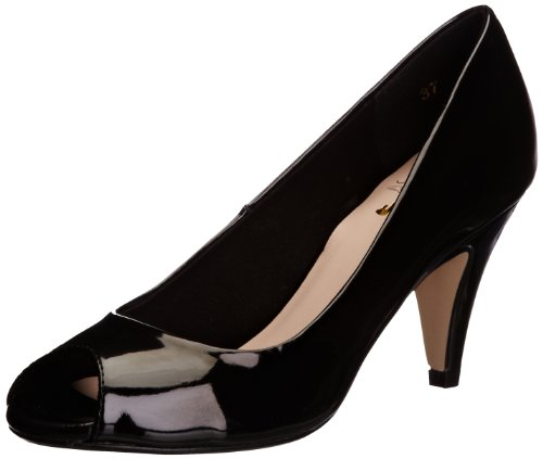 Miss KG Womens Adele Peep-Toe Silver/Black e106Md