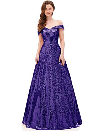 2019 Off Shoulder Prom Dresses for Women Sequined A Line Empire Waist Formal Evening Gown Long Elegant Lady Costume Charming Skirts SHPD41 Purple Size -