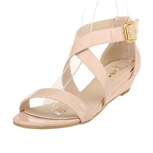 ZriEy women's Classic Ultra Comfort Sexy Low Heel Sandals Patent Leather Nude size 9