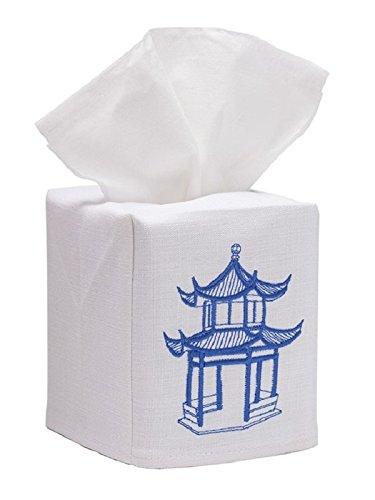 - Jacaranda Living Linen/Cotton Tissue Box Cover with Pagoda, White/Blue