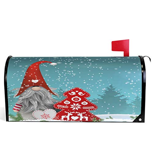 """Wamika Lovely Sprite Christmas Gnome Standing Snowfall Mailbox Covers Standard Size Merry Christmas Red Tree Snowflake Magnetic Mail Wraps Cover Letter Post Box 21"""" Lx 18"""" W"""