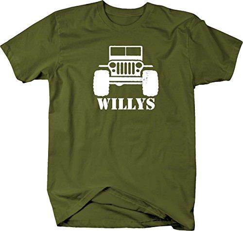 Willys Jeep Military CJ TJ JK Flat Fenders Split Grill Mens T Shirt - Large 4wd Fender