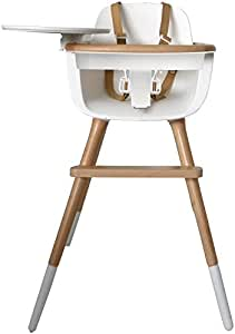 Micuna OVO High Chair with PU Leather Belts, White/Natural