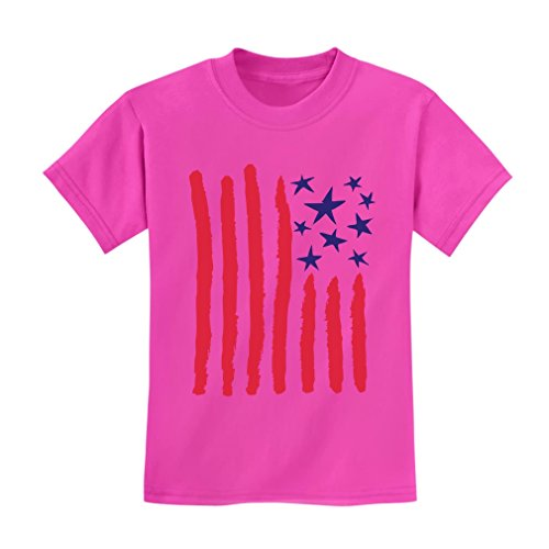 Children's Drawing USA Flag - 4th of July American Flag Kids T-Shirt Small Pink ()