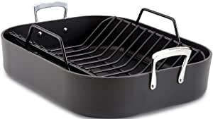 All-Clad E87599 Hard Anodized Aluminum Scratch Resistant Nonstick Anti-Warp Base 16-Inch by 13-Inch Large Roaster Roasting Pan with Nonstick Rack / Cookware, Black