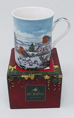 Taza de porcelana fina de porcelana con dise/ño de Robins y Berries en caja de regalo