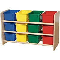 Wood Designs WD13803 See-All Storage with (12) Assorted Color Trays, 21 x 33 x 14 (H x W x D)