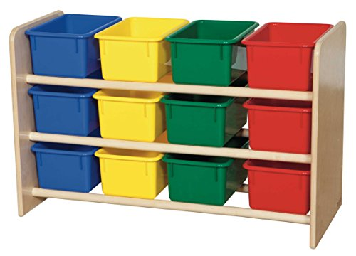 Baltic Birch 12 Cubby Storage (Wood Designs WD13803 See-All Storage with (12) Assorted Color Trays, 21 x 33 x 14