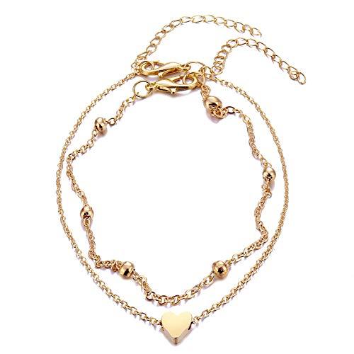 Gold Heart Ankle Bracelet - Phima Women Ankle Bracelet Gold Heart Charm Beaded Dainty Anklet Bracelets for Teen Girls Adjustable Summer Beach Anklet Foot Chain