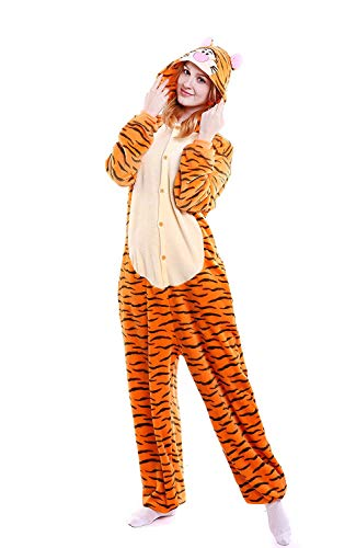 Unisex-Adult Animal Onesie Pajamas Cosplay Costume Halloween (Small (57.9-61.8 Inch), Tiger)]()