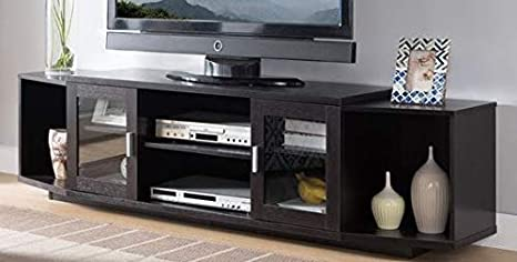 Amazon Com 70 Inch Tv Stand Cappuccino Wood Multi Storage