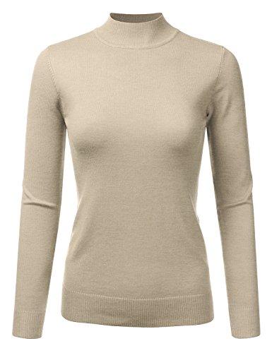 JJ Perfection Women's Soft Long Sleeve Mock Neck Knit Sweater Top KHAKI L
