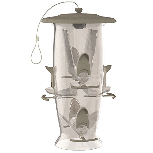 Stokes Select Bird Feeder, Large Hanging Tube Bird Feeder, 6 Feeding Ports, 3.5 lb Seed Capacity, Abundance, Clear