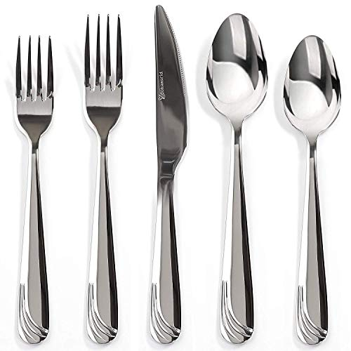 (Silverware Set 18/10 Stainless Steel - Elegant Flatware Set of 20 Pieces - Eating Utensils for 4 People - Modern Cutlery Kit of Dinner Forks - Spoons Knives Dessert Forks and Spoons (D - Waves))