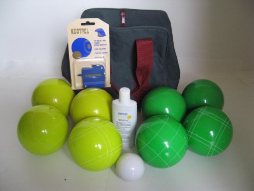 Premium Quality Basic EPCO Bocce package - 110mm Yellow and Green balls, quality nylon bag, m... by Epco