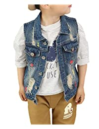 HomeToy Boy Lapel Printed Broken Hole Waistcoat Child Denim Vest Outerwear