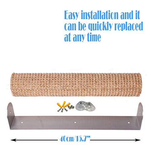 """Diversity world Wall-Mounted Quick Installation or Replaceable Sisal Cat Scratching Post (Aluminum, 15.7""""x3.9"""")"""
