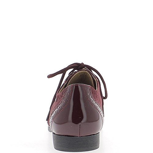 Richelieux bicolores bordeaux effet daim et vernis à talon de 2 cm et lacets