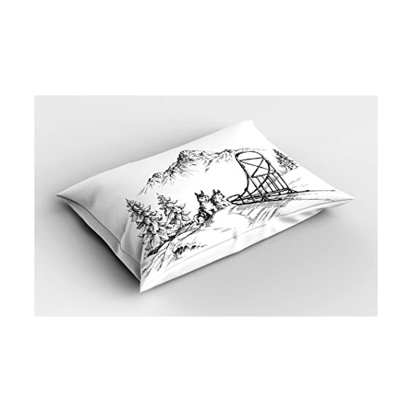 "Ambesonne Alaskan Malamute Pillow Sham, Mountain Landscape in Winter Sledding Dogs Pine Trees Wilderness Art, Decorative Standard Queen Size Printed Pillowcase, 30"" X 20"", Black and White 2"