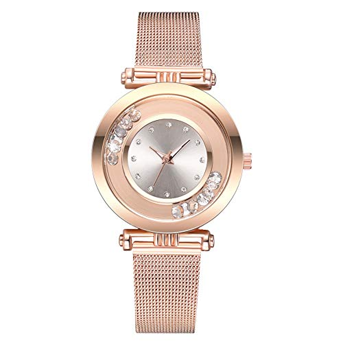 (gu6uesa8n Wrist Watch for Women Girls Fashion Rhinestone Balls Round Dial Alloy Mesh Strap Analog Quartz - White)