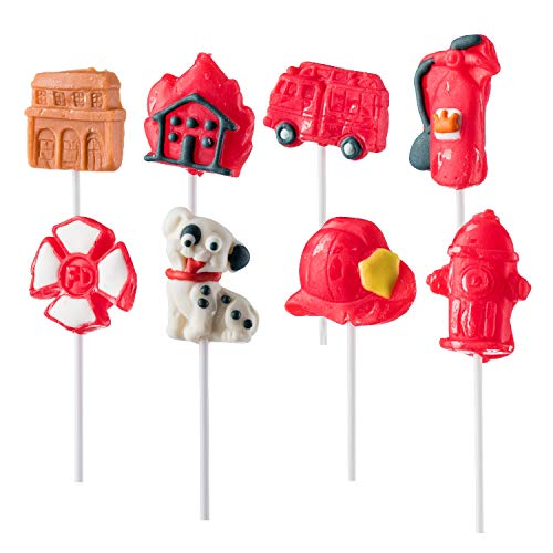 Birthday Lollipop Party - Firefighter Themed Lollipops Fire Shaped Suckers Pack of 8 Pops for Fireman Birthday Party Favor or Parties Decoration
