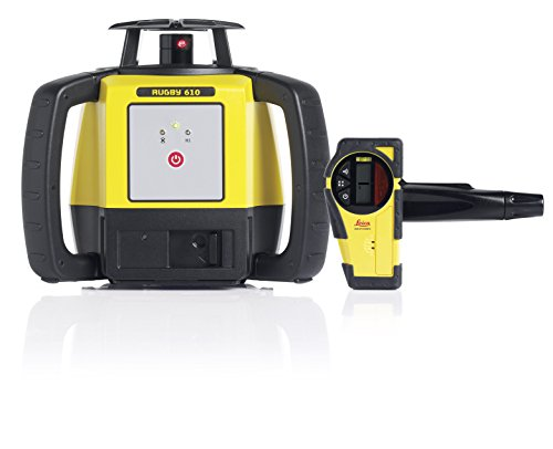 - Leica Rugby 610 1650ft Self Leveling Rotating Laser Kit with Rod Eye Basic Receiver