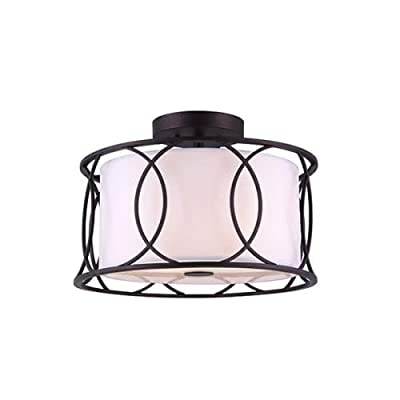 CANARM Monica 2 Bulb Semi-Flush Mount with White Fabric Shade -  - kitchen-dining-room-decor, kitchen-dining-room, chandeliers-lighting - 41ZgM3nW8rL. SS400  -