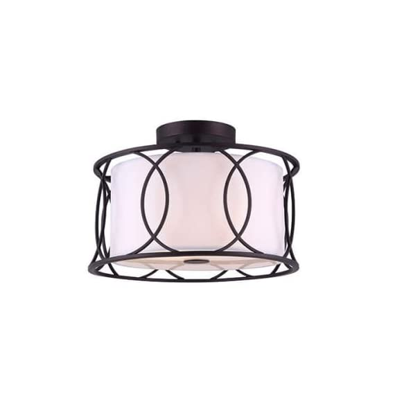 CANARM Monica 2 Bulb Semi-Flush Mount with White Fabric Shade -  - kitchen-dining-room-decor, kitchen-dining-room, chandeliers-lighting - 41ZgM3nW8rL. SS570  -