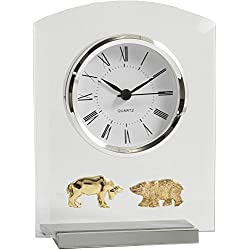 Bey-Berk Stock Market Desktop Clock, Grey