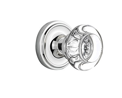 (Nostalgic Warehouse Classic Rosette with Round Clear Crystal Glass Knob, Single Dummy, Bright Chrome)
