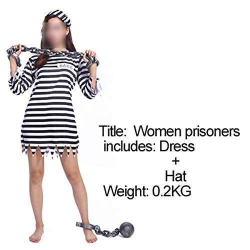 Halloween Costume Prison Uniform Violence Prisoners Serving Prison,Adult Woman -