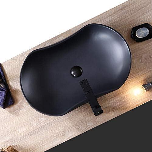 洗面ボール 北欧のインダストリアルスタイルモノクロ上記カウンター浴室カウンターボウル洗面化粧容器シンク 洗面器 (Color : Black, Size : 66x40x13cm)