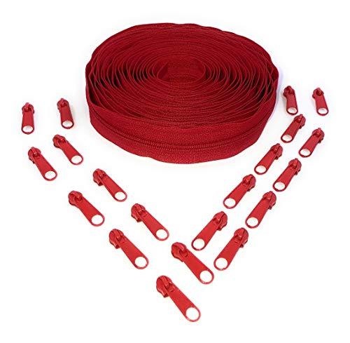Nuburi - Zipper by The Yard - 5 Yards of Make Your Own Zipper - 20 Zipper Pulls (Red) - Red Zipper