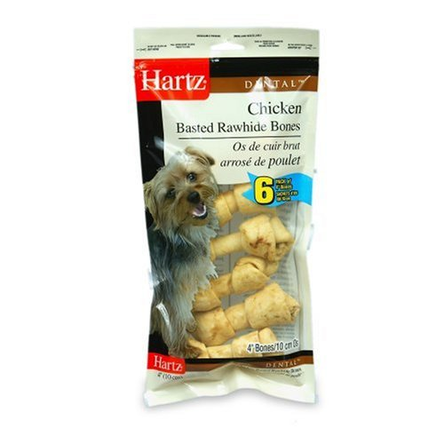 Hartz 4 Inch Chicken Basted Rawhide Dog Bone Chews - Small, 4 Pack