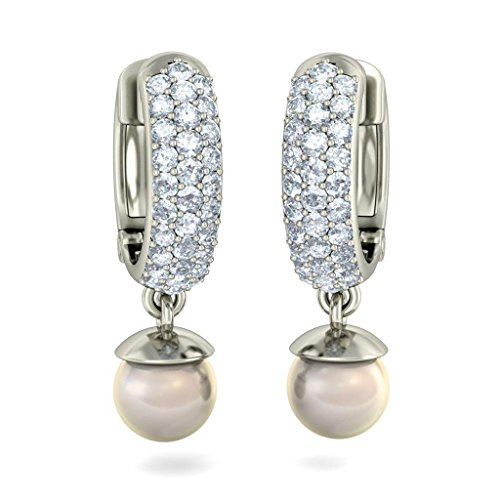 18 K Or Blanc 0,62 carat au total Round-cut-diamond (IJ | SI) et Off White Pearl Boucles d'oreilles créoles