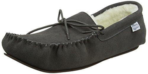 SNUGRUGS Men's Monty Wool Lined Moccasin Slippers Grey (Dark Grey) h4hwHvmr