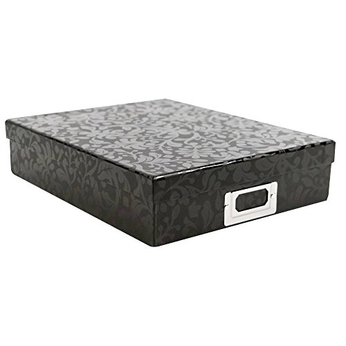 American Crafts DCWV 8.5'' x 11'' Floral Vine Document Box - File Storage Solution with Book Plate - Scrapbooking Essential by American Crafts