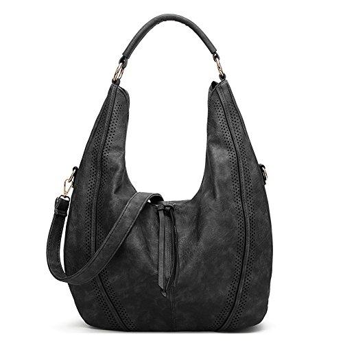 Hobo Handbags, Women's PU leather Shoulder Handbags Ladies Casual Shopping Bags Totes Daily Purses (Black)