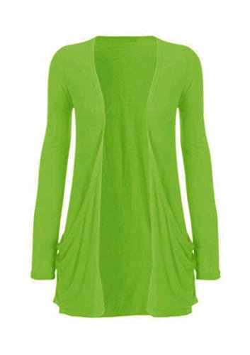 Hot Hanger Ladies Plus Size Pocket Long Sleeve Cardigan 16-26 (20-22 XXL, Lime)