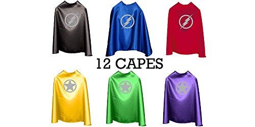 Superfly Kids Superhero Cape With Printed Emblem Set Of 12 (Lightning Bolts)