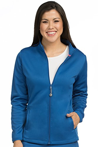 Med Couture Zip Front Performance Fleece Scrub Jacket for Women, Royal, X-Large