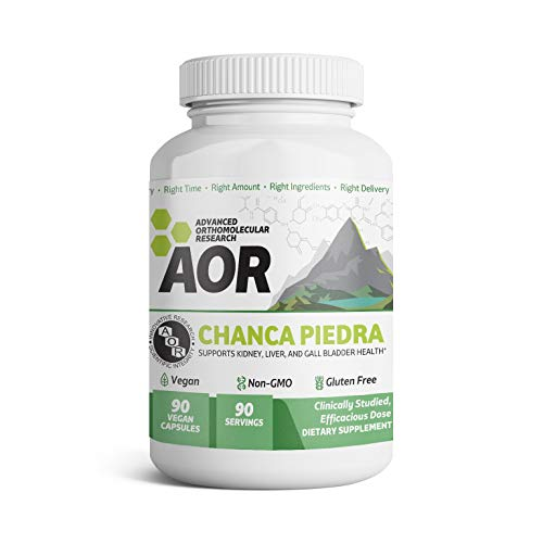 AOR - Chanca Piedra, Herbal Supplement for Kidney, Liver and Gallbladder Health, 500 mg, Vegan, 90 capsules (90 servings)