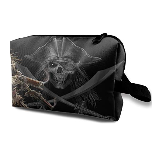 Halloween Pirate Skeleton Skull Gun Multi-function Travel Makeup Toiletry Coin Bag Case -