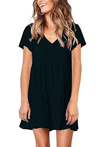 Stylelachic Women's Summer Short Sleeve Tunic Swing Dress V Neck Pleated Loose Mini Dress Casual Flowy Shift Dresses - Black S