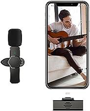Microfone Condensador, sem fio Lavalier LVOD Portable Audio Video Recording Mini Mic para iPhone Android Live