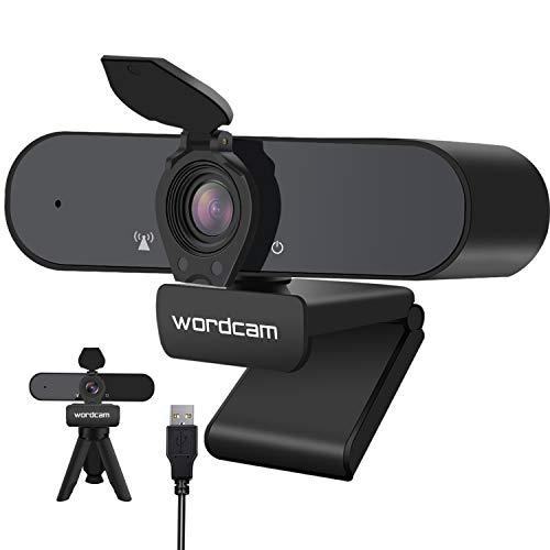 🥇 Wordcam Webcam 1080P Full HD con Micrófono Incorporado y Cubierta de Privacidad