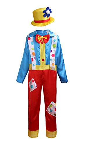 YOLSUN Clown Costume, Funny Role Play for Mardi Gras Dress Up (S(Suggested Height:39