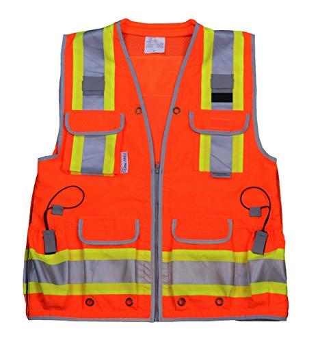 VERO1992 Reflective Vest Class 2 Heavy Woven Two Tone Engineer Hi Viz Orange safety vest 3M 8712 Tape (XX-Large, ()