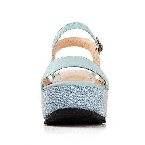 Allhqfashion Femmes Matériau Souple Boucle Ouverte Orteils Chaton Talons Solides Sandales Bleu